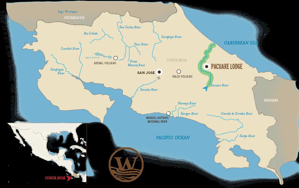 Costa Rica River Map