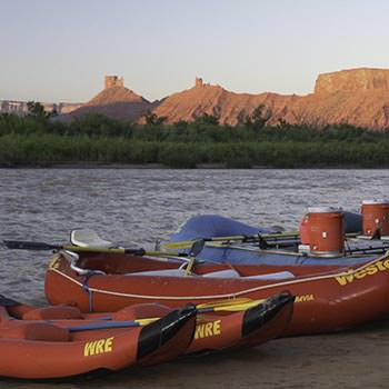 Rafts at sunrise on the Colorado River
