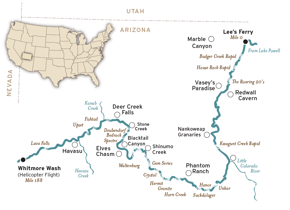 Grand Canyon River Map Mile To - Grand canyon location on us map
