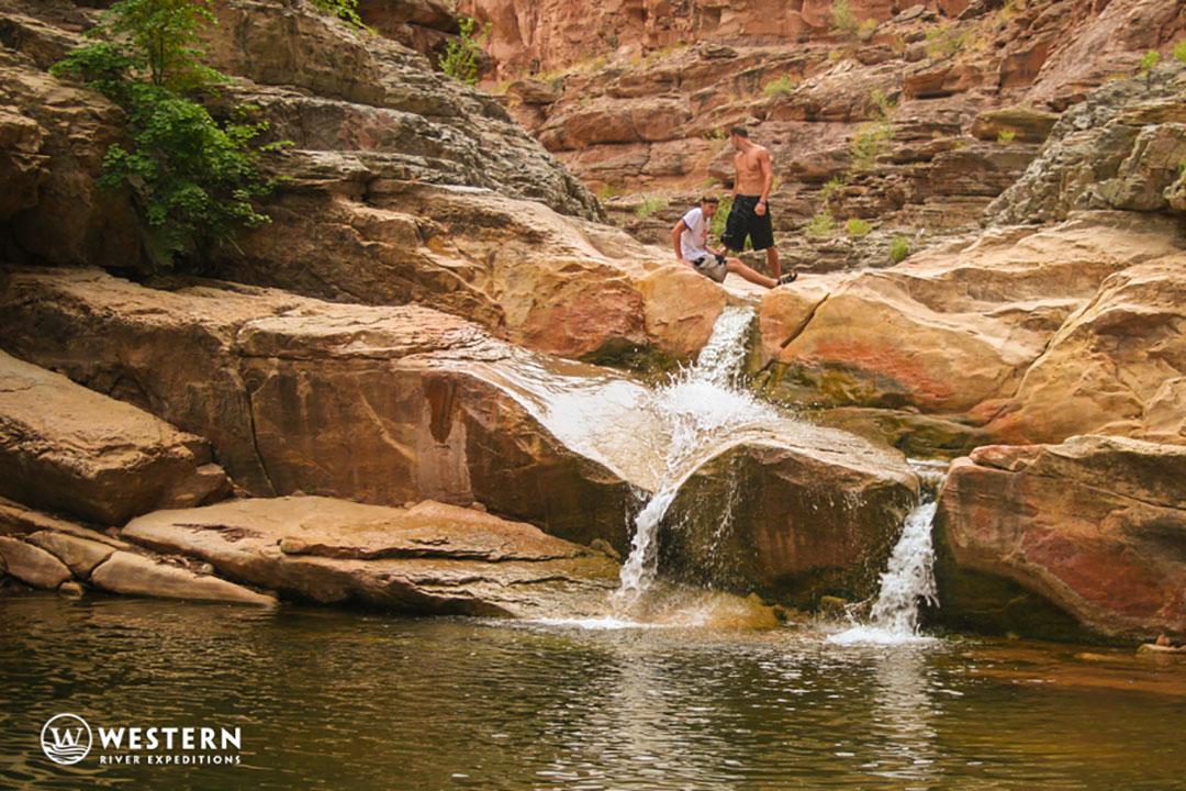 Waterfall hike in Cataract Canyon