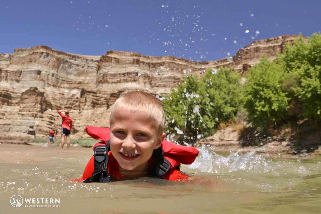 Desolation Canyon Utah Rafting Kid Swimming