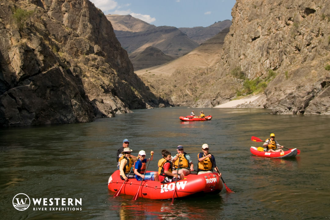 Rafts enter a gorge on the lower Salmon River