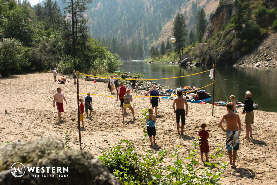 Beach volleyball on the on the Main Salmon River