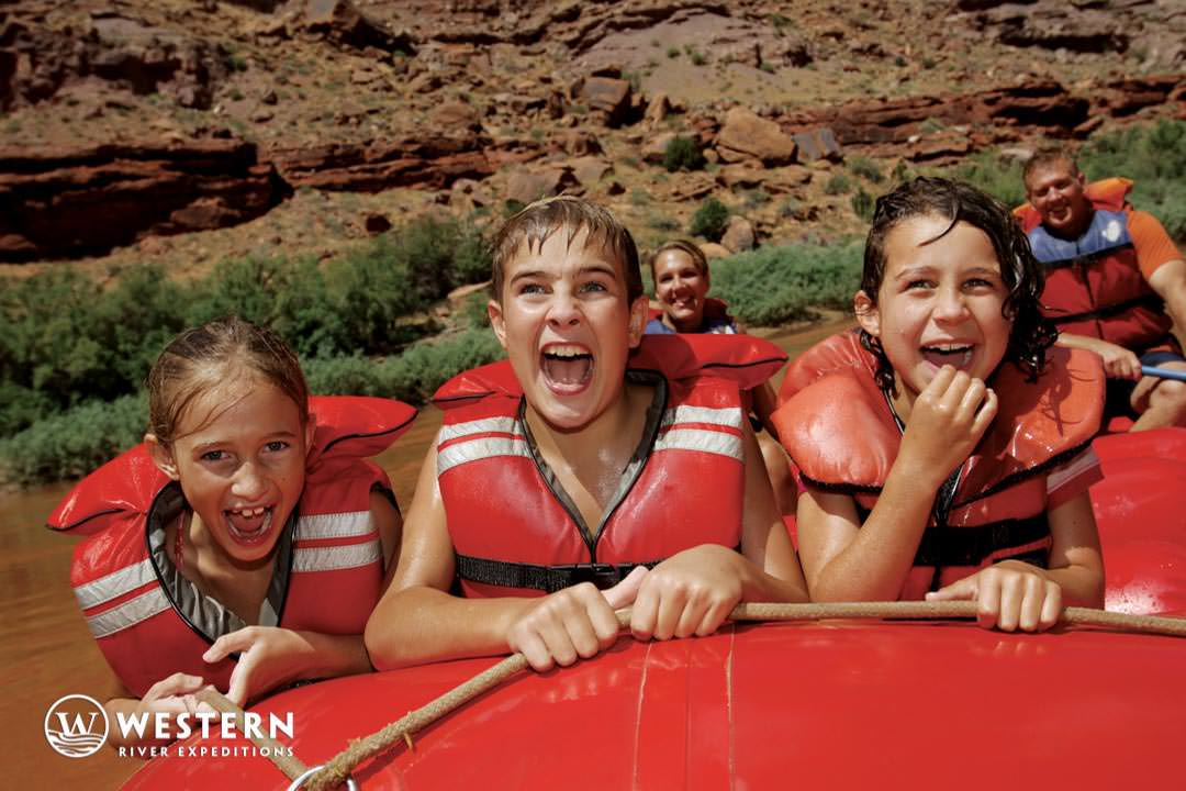 Kids rafting in Moab, Utah
