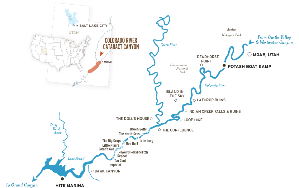 Map of Colorado River through Cataract Canyon