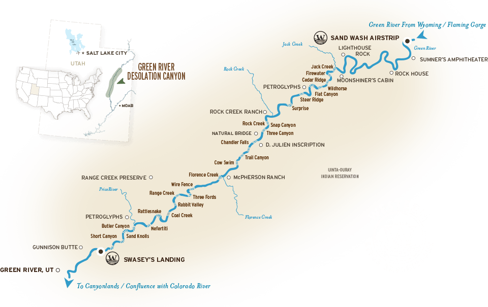 Desolation Canyon and Green River Map