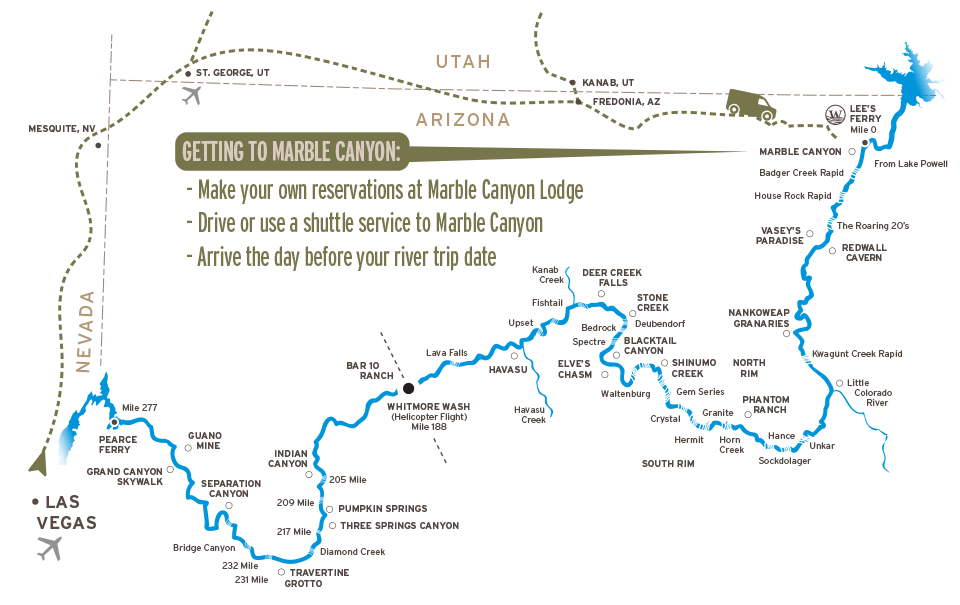 Map of Driving to Marble Canyon