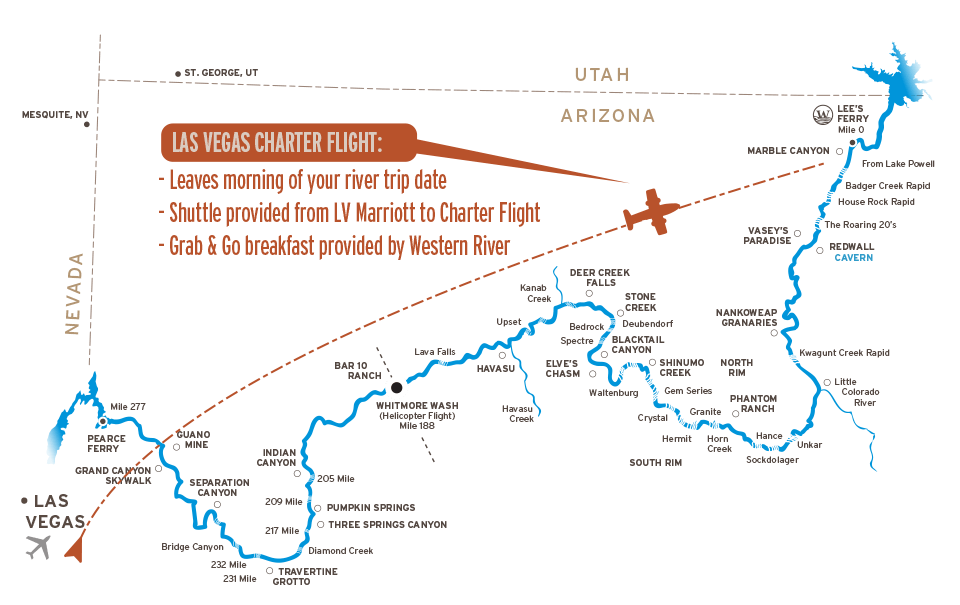 Map of Flight to Marble Canyon