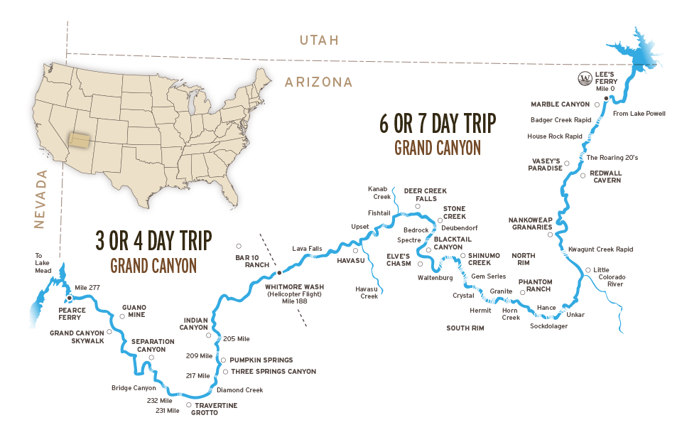 Map Of Arizona And Grand Canyon.Grand Canyon Rafting Trips