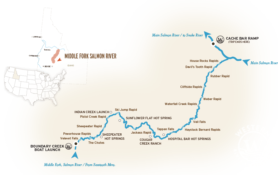 Map of the Middle Fork, Salmon River