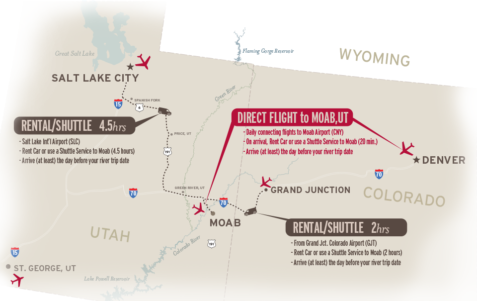 Directions to Moab, Utah