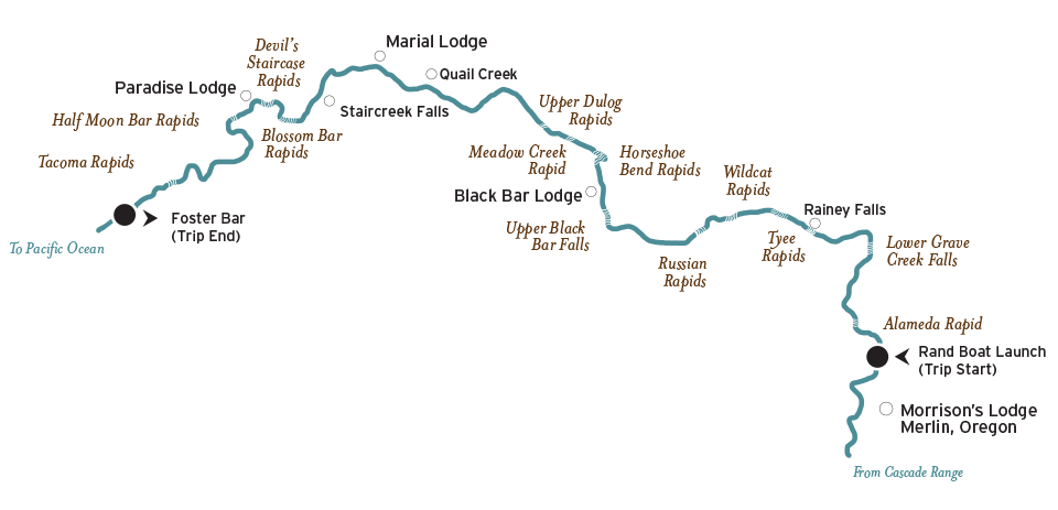Oregon Whitewater Rafting Map