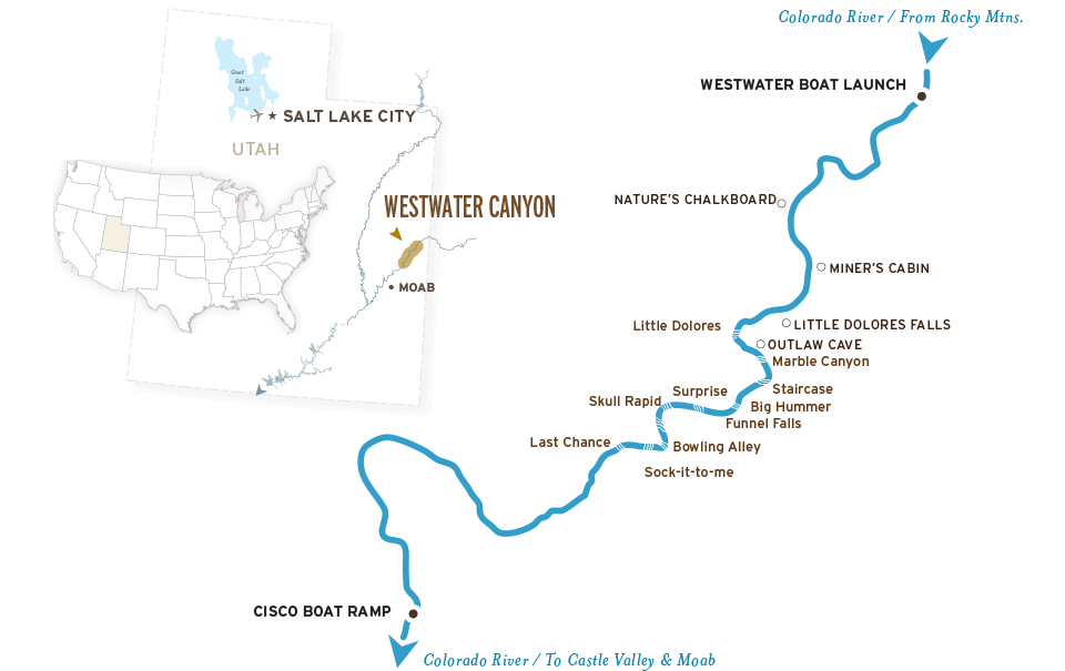 Colorado City Utah Map.Westwater Canyon Rafting Map On The Colorado River