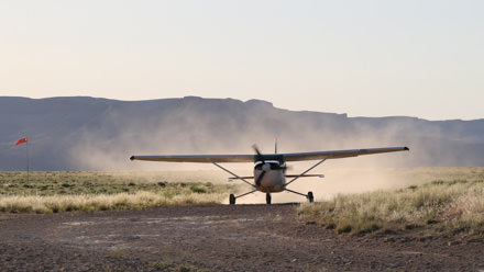 Landing at Sand Wash Airstrip