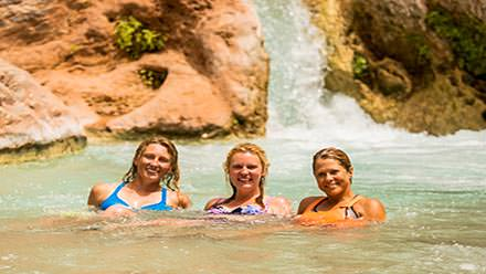 Girlfriends group trip on the river