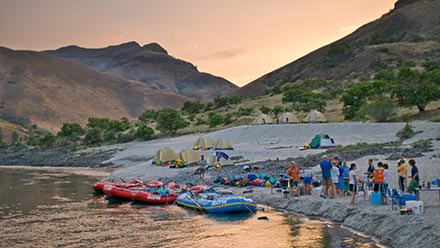 Lower Salmon River Rafting Camp Sunset